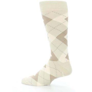 Image of Champagne Argyle Wedding Groomsmen Men's Dress Socks (side-2-13)
