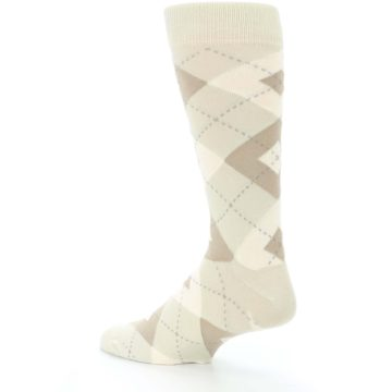 Image of Champagne Argyle Wedding Groomsmen Men's Dress Socks (side-2-back-14)
