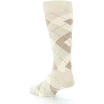 Image of Champagne Argyle Wedding Groomsmen Men's Dress Socks (side-2-back-15)