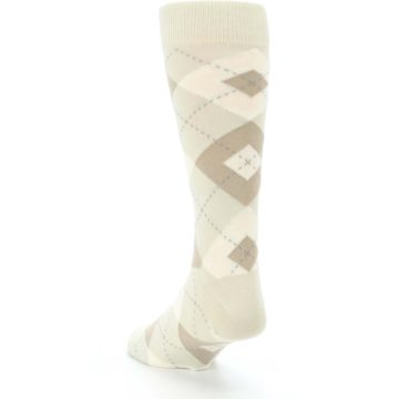 Image of Champagne Argyle Wedding Groomsmen Men's Dress Socks (side-2-back-16)