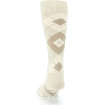 Image of Champagne Argyle Wedding Groomsmen Men's Dress Socks (back-17)