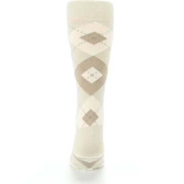 Image of Champagne Argyle Wedding Groomsmen Men's Dress Socks (back-18)