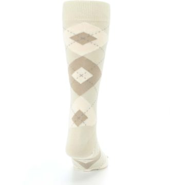Image of Champagne Argyle Wedding Groomsmen Men's Dress Socks (back-19)
