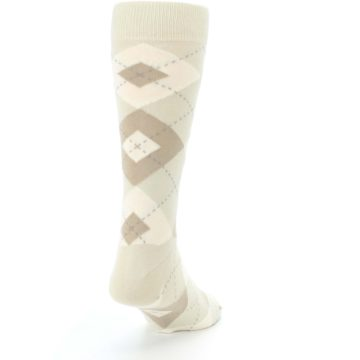 Image of Champagne Argyle Wedding Groomsmen Men's Dress Socks (side-1-back-20)