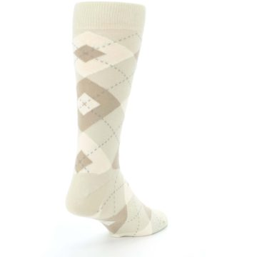 Image of Champagne Argyle Wedding Groomsmen Men's Dress Socks (side-1-back-21)
