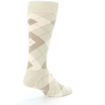 Image of Champagne Argyle Wedding Groomsmen Men's Dress Socks (side-1-back-22)