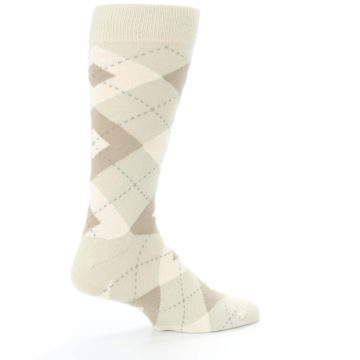 Image of Champagne Argyle Wedding Groomsmen Men's Dress Socks (side-1-23)