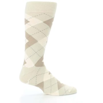 Image of Champagne Argyle Wedding Groomsmen Men's Dress Socks (side-1-24)