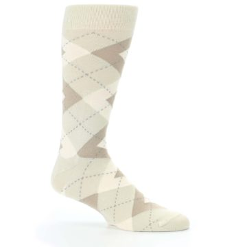 Image of Champagne Argyle Wedding Groomsmen Men's Dress Socks (side-1-25)