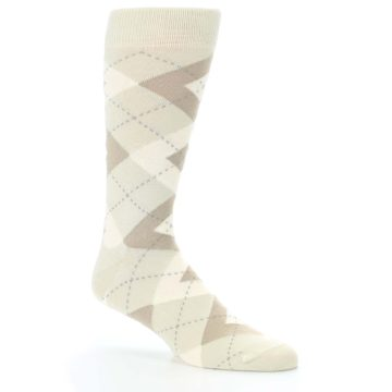 Image of Champagne Argyle Wedding Groomsmen Men's Dress Socks (side-1-26)