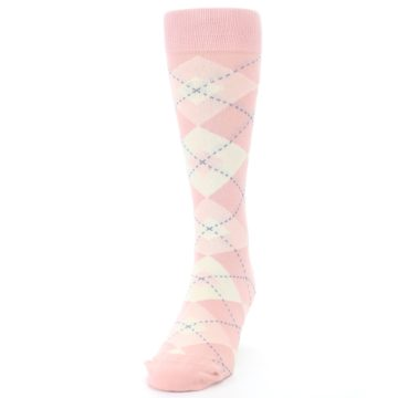 Image of Blush Bellini Ballet Pink Argyle Men's Dress Socks (side-2-front-06)