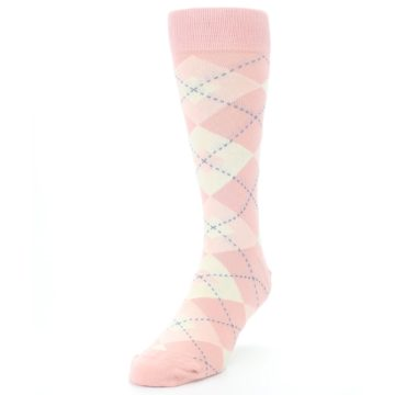 Image of Blush Bellini Ballet Pink Argyle Men's Dress Socks (side-2-front-07)