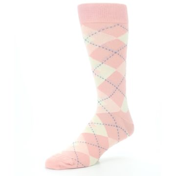 Image of Blush Bellini Ballet Pink Argyle Men's Dress Socks (side-2-09)