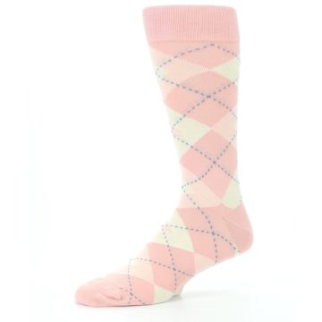 Image of Blush Bellini Ballet Pink Argyle Men's Dress Socks (side-2-10)