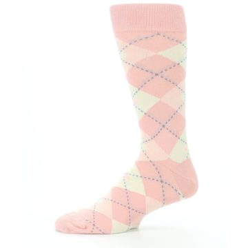 Image of Blush Bellini Ballet Pink Argyle Men's Dress Socks (side-2-11)