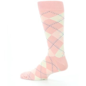 Image of Blush Bellini Ballet Pink Argyle Men's Dress Socks (side-2-13)