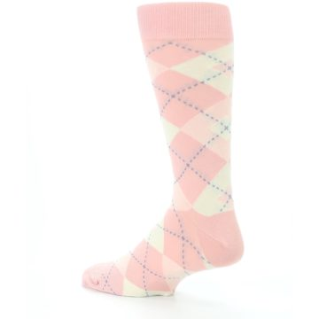 Image of Blush Bellini Ballet Pink Argyle Men's Dress Socks (side-2-back-14)
