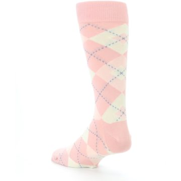 Image of Blush Bellini Ballet Pink Argyle Men's Dress Socks (side-2-back-15)