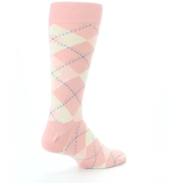 Image of Blush Bellini Ballet Pink Argyle Men's Dress Socks (side-1-back-22)