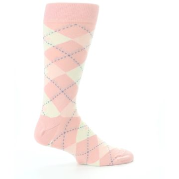 Image of Blush Bellini Ballet Pink Argyle Men's Dress Socks (side-1-24)