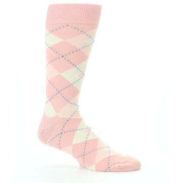 Image of Blush Bellini Ballet Pink Argyle Men's Dress Socks (side-1-25)