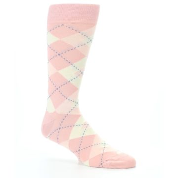 Image of Blush Bellini Ballet Pink Argyle Men's Dress Socks (side-1-26)