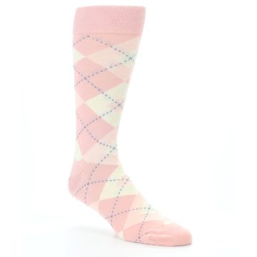 Image of Blush Bellini Ballet Pink Argyle Men's Dress Socks (side-1-27)