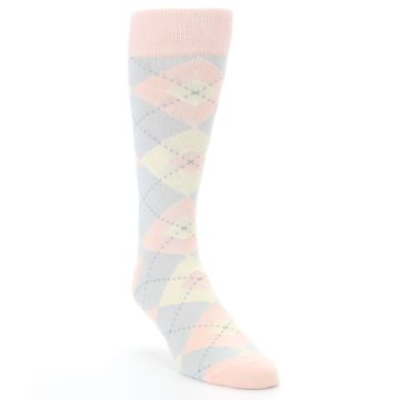 Image of Blush Pink Gray Argyle Wedding Groomsmen Men's Dress Socks (side-1-front-02)