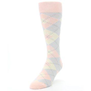 Image of Blush Pink Gray Argyle Wedding Groomsmen Men's Dress Socks (side-2-front-07)