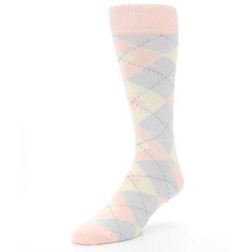 Image of Blush Pink Gray Argyle Wedding Groomsmen Men's Dress Socks (side-2-front-08)