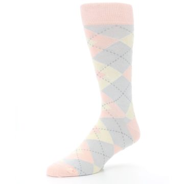 Image of Blush Pink Gray Argyle Wedding Groomsmen Men's Dress Socks (side-2-09)