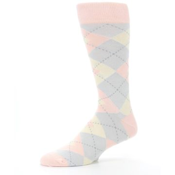 Image of Blush Pink Gray Argyle Wedding Groomsmen Men's Dress Socks (side-2-10)
