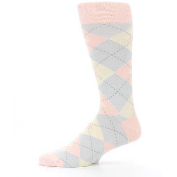 Image of Blush Pink Gray Argyle Wedding Groomsmen Men's Dress Socks (side-2-11)