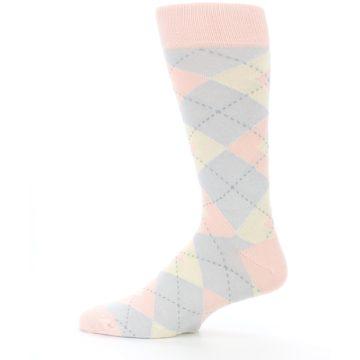 Image of Blush Pink Gray Argyle Wedding Groomsmen Men's Dress Socks (side-2-12)