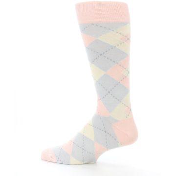 Image of Blush Pink Gray Argyle Wedding Groomsmen Men's Dress Socks (side-2-13)