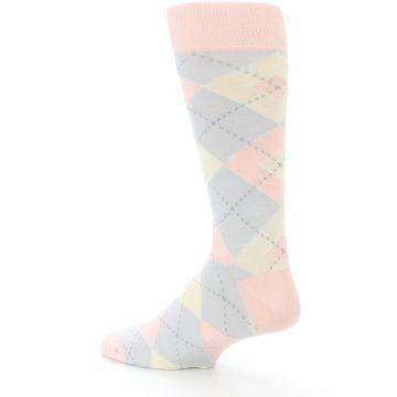 Image of Blush Pink Gray Argyle Wedding Groomsmen Men's Dress Socks (side-2-back-14)