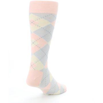 Image of Blush Pink Gray Argyle Wedding Groomsmen Men's Dress Socks (side-1-back-21)