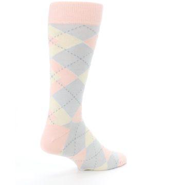 Image of Blush Pink Gray Argyle Wedding Groomsmen Men's Dress Socks (side-1-back-22)