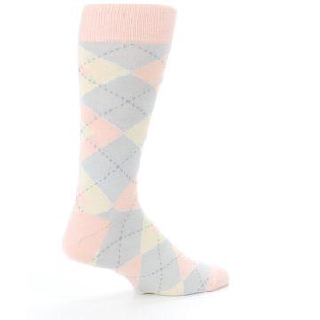 Image of Blush Pink Gray Argyle Wedding Groomsmen Men's Dress Socks (side-1-23)