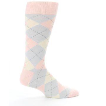 Image of Blush Pink Gray Argyle Wedding Groomsmen Men's Dress Socks (side-1-24)