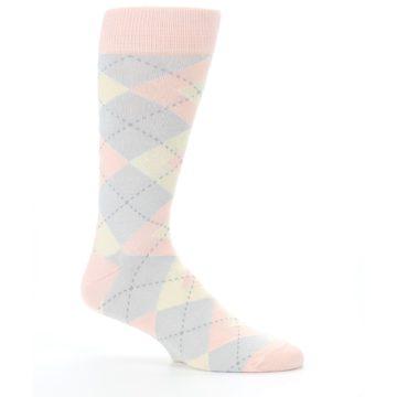 Image of Blush Pink Gray Argyle Wedding Groomsmen Men's Dress Socks (side-1-25)