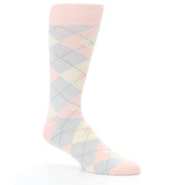Image of Blush Pink Gray Argyle Wedding Groomsmen Men's Dress Socks (side-1-26)