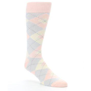 Image of Blush Pink Gray Argyle Wedding Groomsmen Men's Dress Socks (side-1-27)