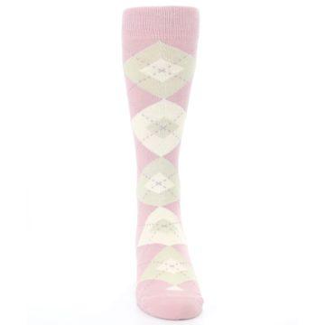 Image of Dusty Rose Champagne Argyle Wedding Groomsmen Men's Dress Socks (front-04)