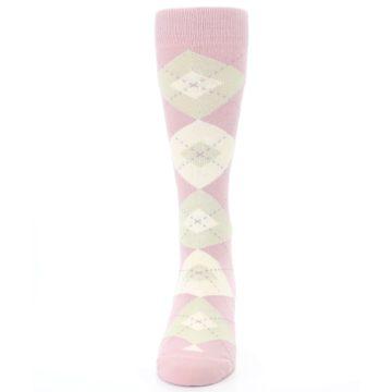 Image of Dusty Rose Champagne Argyle Wedding Groomsmen Men's Dress Socks (front-05)