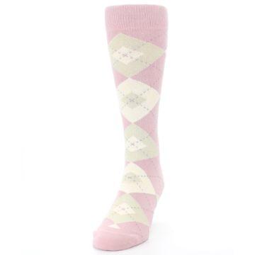 Image of Dusty Rose Champagne Argyle Wedding Groomsmen Men's Dress Socks (side-2-front-06)