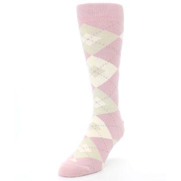 Image of Dusty Rose Champagne Argyle Wedding Groomsmen Men's Dress Socks (side-2-front-07)