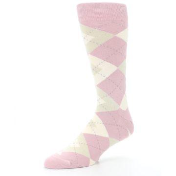 Image of Dusty Rose Champagne Argyle Wedding Groomsmen Men's Dress Socks (side-2-09)