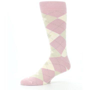 Image of Dusty Rose Champagne Argyle Wedding Groomsmen Men's Dress Socks (side-2-10)