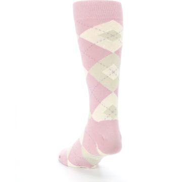Image of Dusty Rose Champagne Argyle Wedding Groomsmen Men's Dress Socks (side-2-back-16)